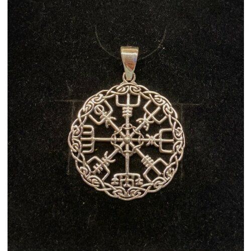 Sølv Vedhæng Vegvisir åben med keltisk flet, rejseamulet, amulet, evigheden, infinity, runesten, runestav, magisk, amuletter, heksetegn, vejviser, vedhæng, sterling sølv, halskæde, halssmykke, museums, smykker, vikinge, fund, kopi, ansgar, ribe, biti, rundt, specielt, gaveide,