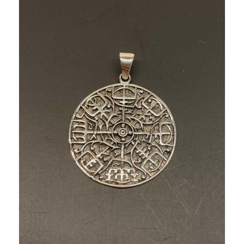 Sølv Vedhæng Vegvisir massivt, Sølv Vedhæng Vegvisir åben med keltisk flet, rejseamulet, amulet, evigheden, infinity, runesten, runestav, magisk, amuletter, heksetegn, vejviser, vedhæng, sterling sølv, halskæde, halssmykke, museums, smykker, vikinge, fund, kopi, ansgar, ribe, biti, rundt, specielt, gaveide,