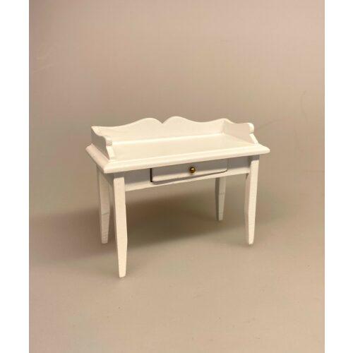 Miniature Hvidt Skrivebord, kontor, skrivebord, dameskrivebord, entre, bord, hvidt, hvidmalet, dukkehusmøbler, dukkehus, dukkestue, tilbehør, ting til, miniature, nisser, træ, sangskjuler, symbolsk, gave, gaveide, biti, ribe
