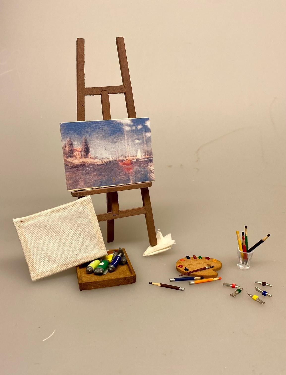 Miniature Malertuber, kunstmaler, maling, oliemaleri, oliefarver, miniature, mini, maleri, maler, sangskjuler, kunst, gavekort, symbolsk, sætterkasse, sættekasse, dukkehus, dukkestue, ting, til, tilbehør, nisser, nisse, 1:12, farver, kreativ,