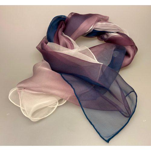 Silkechiffon 1163 XL - Blækblå/Lyng/Hvid. 1163-178, Silkechiffon Tørklæde - Blækblå/lyng/hvid, -178, silketørklæde, silkechiffon, kvalitet, let, eksklusivt, lækkert, gaveide, mors dag, fødselsdag, luksus, smukt, let, lunt, elegant, ren silke, 100%, biti, ribe