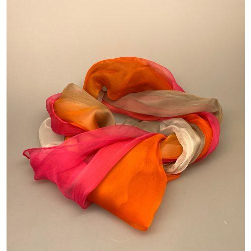 Silkechiffon 1163 XL - Pink/Orange/Hvid, 1163-252, silkestola, silketørklæde, håndrullede, kanter, håndsyede, let, eksklusivt, elegant, fet, festtøj, festtilbehør, over, skuldrene, sjælevarmer, festkjole, klare farver, biti, ribe, gaveide,