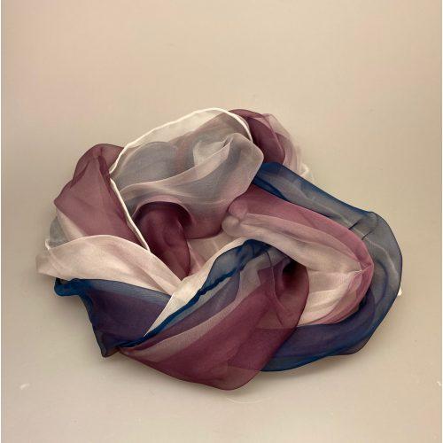 Silkechiffon Tørklæde 1158 - Blækblå/lyng/hvid, 1158-178, silketørklæde, silkechiffon, kvalitet, let, eksklusivt, lækkert, gaveide, mors dag, fødselsdag, luksus, smukt, let, lunt, elegant, ren silke, 100%, biti, ribe