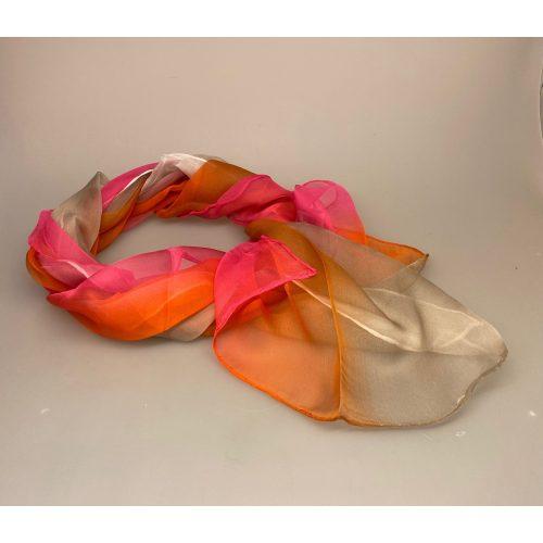 Silkechiffon Tørklæde 1158 - Pink/Orange/Hvid, 1159-252, , gyldne farver, orange, pink, knaldfarver, glade farver, silke, tørklæde, silketørklæde, silkechiffon, let, stort, stola, sjal, festtøj, fest tilbehør, smukt, lækkert, kvalitet, udsøgt, biti, ribe, smukt, eksklusivt, lækkert, luksus, ægte, ren, 100%, silketørklæde, gaveide, gave, elegant, kvalitet