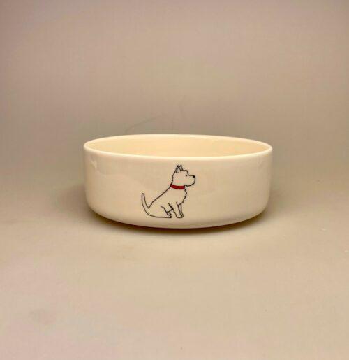 Hundeskål af Porcelæn - West Highland Terrier, westie, tin tin, hund, hundeskål, til hunde, vandskål, madskål, napf, terrie, terry, black and white, skotte, terrier, porcelæn, flot, hindeejer, gave, gaveide, hundepasser, hundelufter, biti, ribe