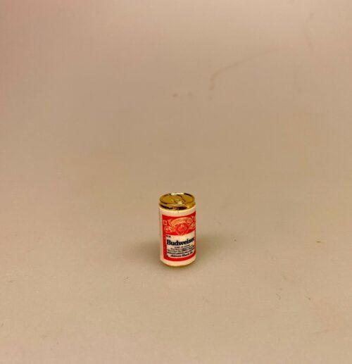 Miniature Budweiser Øldåse, amerikansk, usa, bud, budweiser, stor, dåseøl, øl, øldåse, sangskjuler, bajer, grill, weber, barbeque, biti, ribe, symbolsk, gave