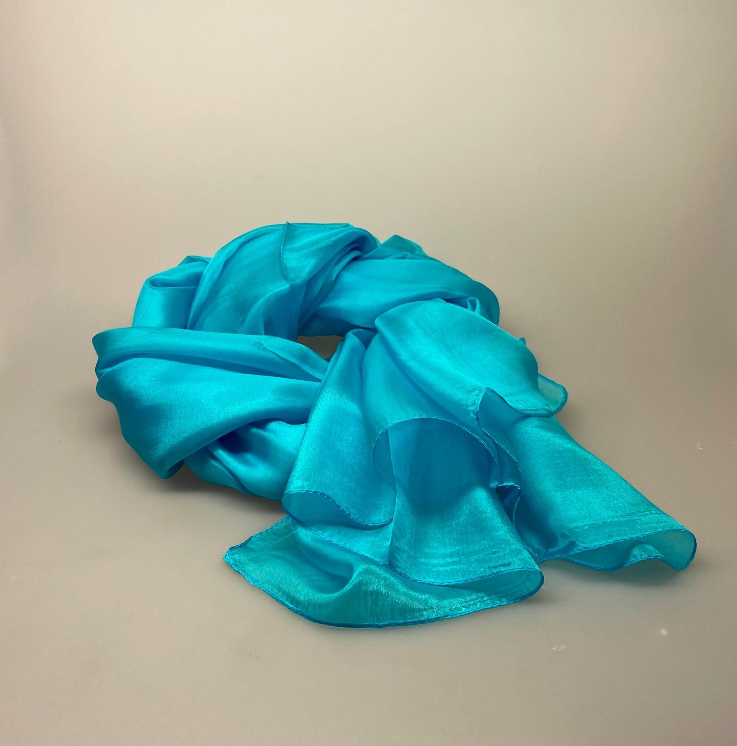 Silketørklæde Pongé 1410 XL - Turkis, stola, tørklæde, stort, fyldigt, blødt, lækkert, stola, om skulderen, over skuldrene, bolero, festtilbehør, festtøj, turkisblå, grønblå, turkis, tyrkis, biti, ribe
