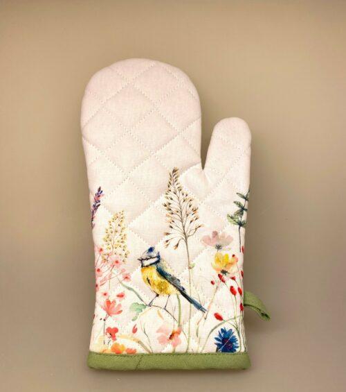 Grillhandske bomuld med Blåmejse og blomster, flora, vilde blomster, grøftekantsblomster, sommerhus, feminin, feminint, Grillhandske - bomuld med tryk, køkken, køkken tekstiler, grillvante, grillhandske, grydelap, varme ting, fugle, naturens fugle, oinitolog, jeg kigger på fugle, ting med fugle, danske fugle, fugle i farver, fauna, natur, flot, biti, ribe, vadehAVET, SORT SOL, akvarel, akvarelfarver, maler,