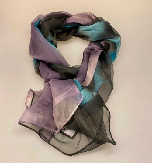Silkechiffon 1163 XL - Antrazit/Turkis/Lyslilla, 1163-248, silke, silketørklæde, ren, ægte, tyndt, let, elegant, stort, lækkert, kvalitet, silkestola, festligt, farverigt, gave, gaveide, flot, koloreret, interessant, håndlavet, koksgrå, gråt, sort, biti, ribe