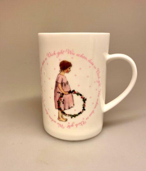 Ben Porcelæn krus - Min Yndlings kop - Pige med blomsterkrans, feminint, piget, til piger, dåbsgave, barnedåb, gave, gaveide, barnebarn, børnebørn, personlig, kop, krus, kakao, te, tekrus, tekop, særlig, yndlingsmenneske, ynglingsmenneske, datter, biti, ribe, fin, porcelæn, porcelænskrus, bone china, ben porcelæn, kaffekop, kaffekrus